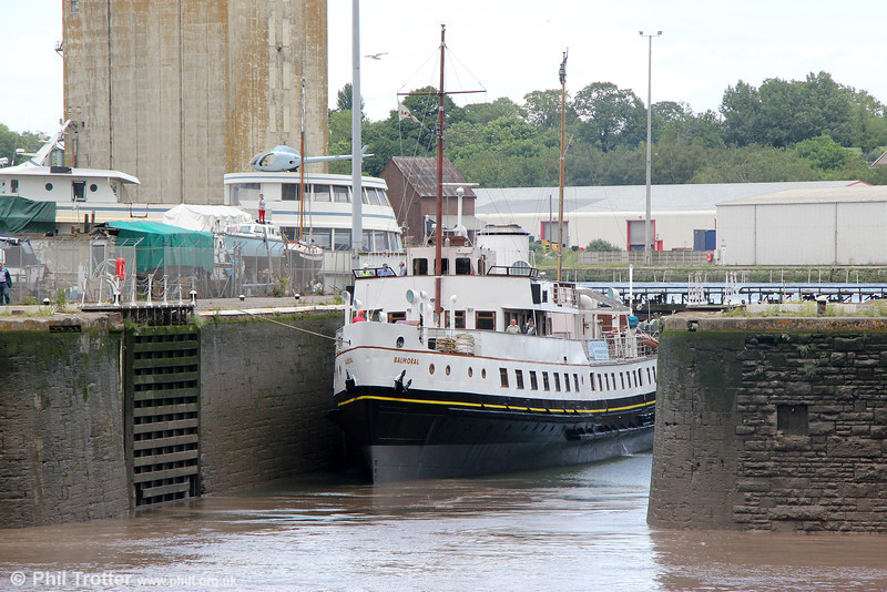With the water levels equalised, MV Balmoral prepares to leave Sharpness for Avonmouth on 7th June 2014.