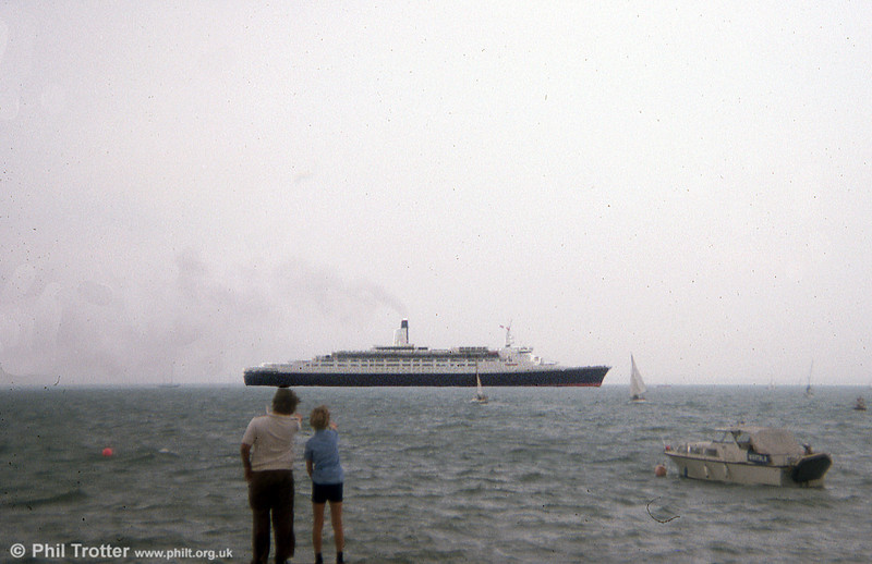 The QE2 seen in the Solent in 1975.