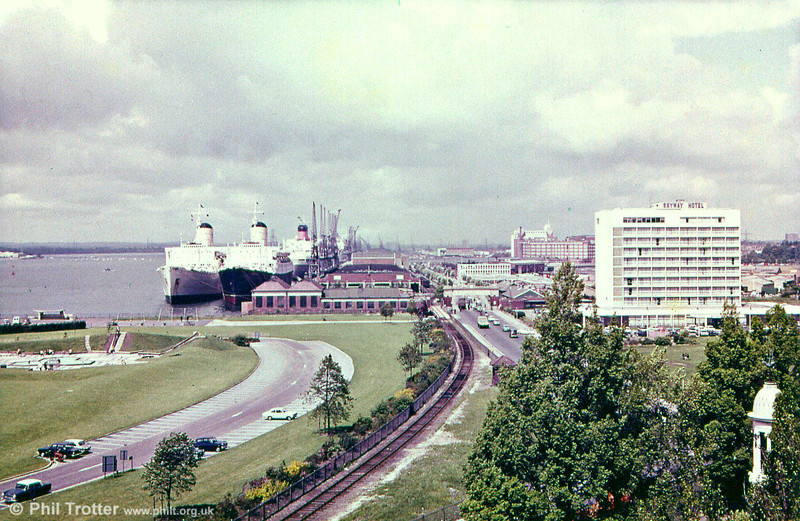 A commercial view looking over the Liner Terminal at Southampton.
