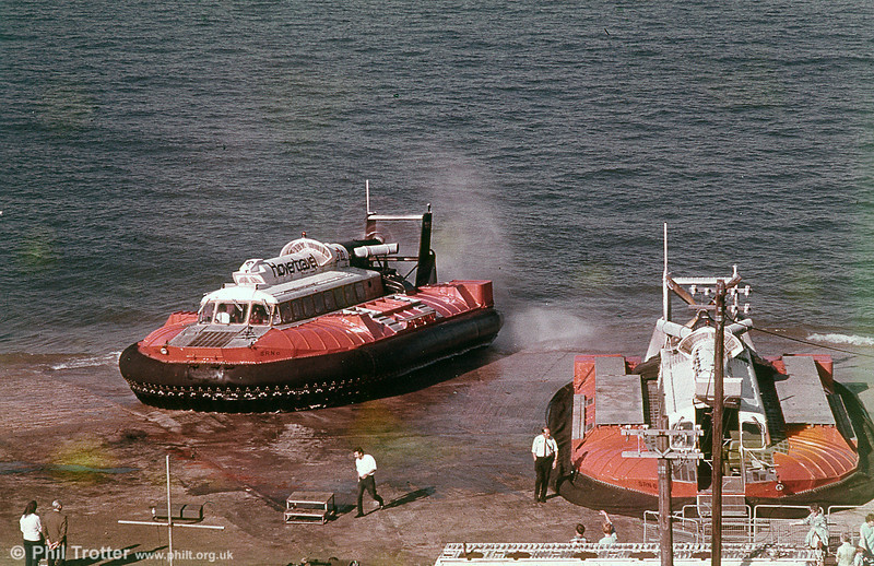 A pair of Hovertravel's SRN6 Hovercraft in the Solent.