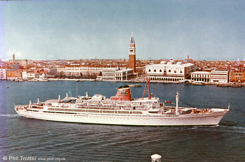 A commercial view of 'Ausonia', built by Cantieri Riuniti dell' Adriatico, Monfalcone in 1957 for Adriatica SpA di Navagazione for their Trieste to Beirut service. Her current owners are Louis Cruise Lines of Cyprus.