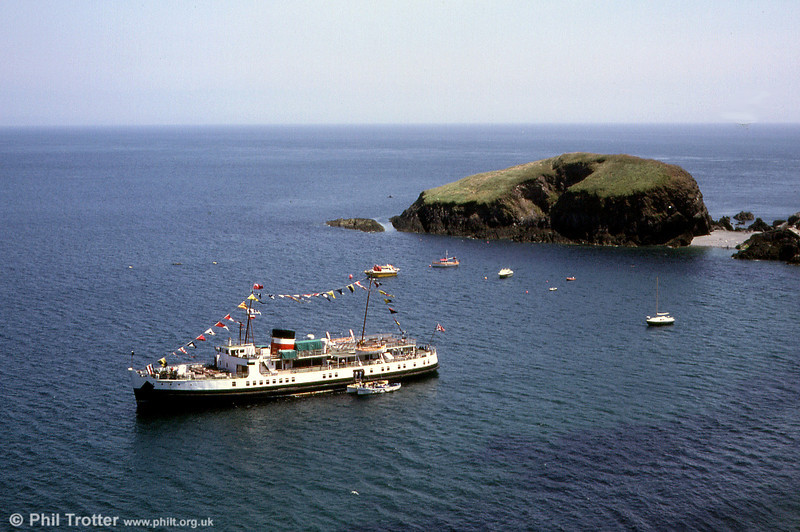 After renovation and being renamed Prince Ivanhoe, she was chartered for use on the Bristol Channel under the use of the Waverley's owners. She was found to be roomy and economical and was proving a success. MV Prince Ivanhoe is seen here anchored off Lundy Island during its first (and only!) season in the Bristol Channel.
