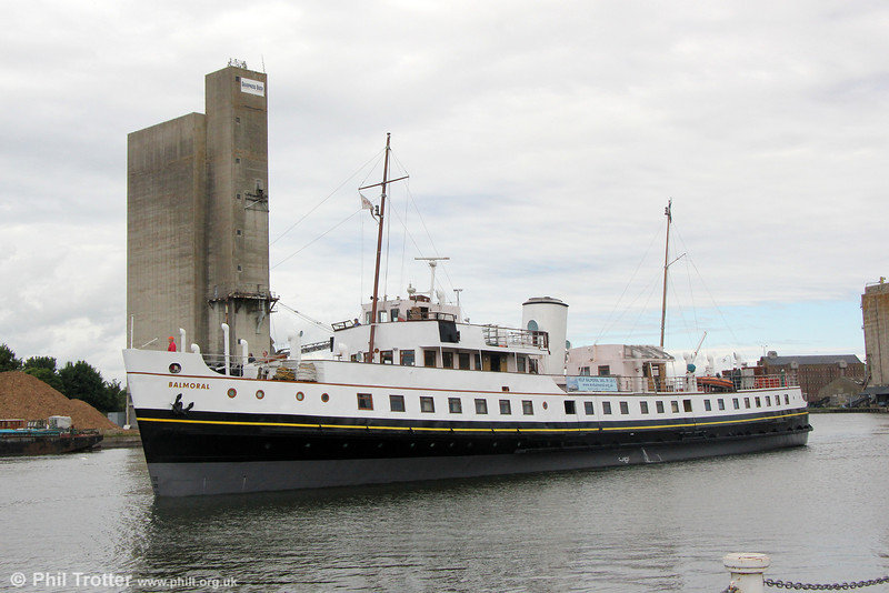 Currently out of service, the MV Balmoral has undergone ultrasonic testing and an MCA (Maritime & Coastguard Agency) 5 Year Survey (effectively an MoT test) in dry dock at Sharpness. This has been followed by a partial repaint, including the hull below the waterline. On 7th June, with a clean bill of health, MVB sailed from Sharpness to return to Bristol via Avonmouth so that restoration work can continue with a view to the ship returning to service in 2015.