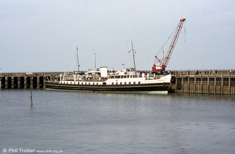 A second view of MV Balmoral at Watchet Harbour. Balmoral was built by Thornycroft at Woolston, Southampton in 1949, commissioned by the Southampton, Isle of Wight & South of England Royal Mail Steam Packet Co., Ltd. (Red Funnel).