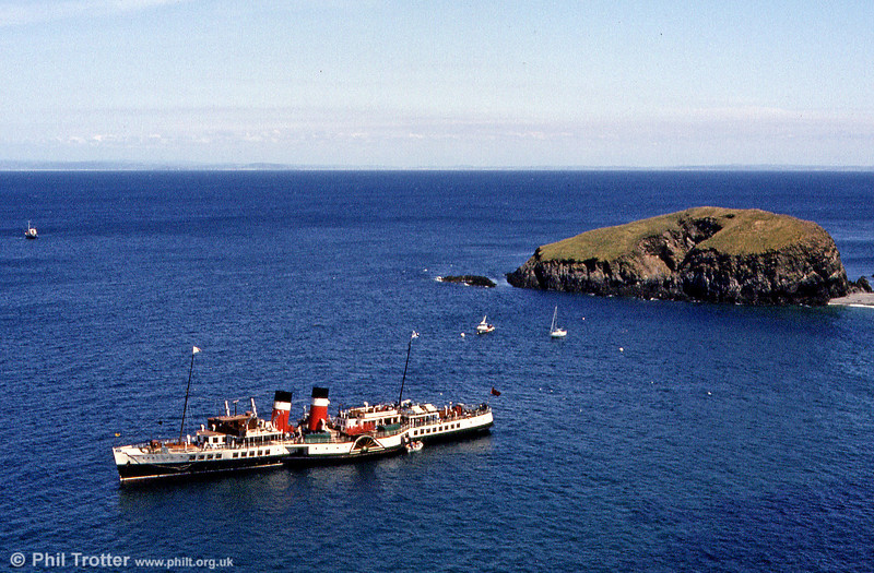Paddle Steamer Waverley anchored off Lundy Island in June 1984. Waverley is the last sea-going paddle steamer in the world.