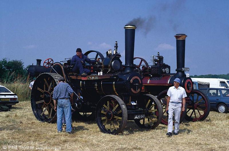 Fowler Traction Engine no. 11491, AH 6486 'Dreadnought' alongside Burrell no. 4049, TW 5228 'Daphne'.