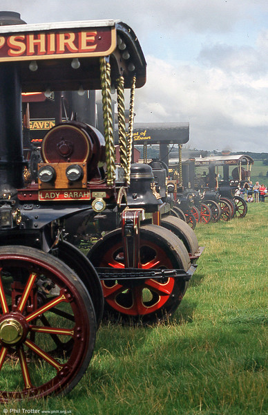 The line up of steam road locomotives at the Three Cocks Vintage Show, Hay on Wye, on 14th August 2005.