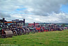 A wider view of the line up of steam road locomotives at the Three Cocks Vintage Show, Hay on Wye, on 14th August 2005.