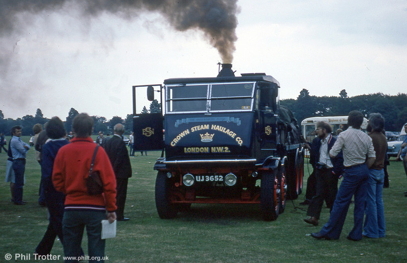 A product of Sentinel of Shrewsbury dating from 1934 UJ 3652 leaves a plume of smoke over a bus rally in the early 1980s.