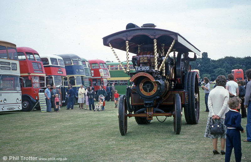 TA 905, a Burrell Showman's Engine, photographed at a bus rally in the early 1980s.