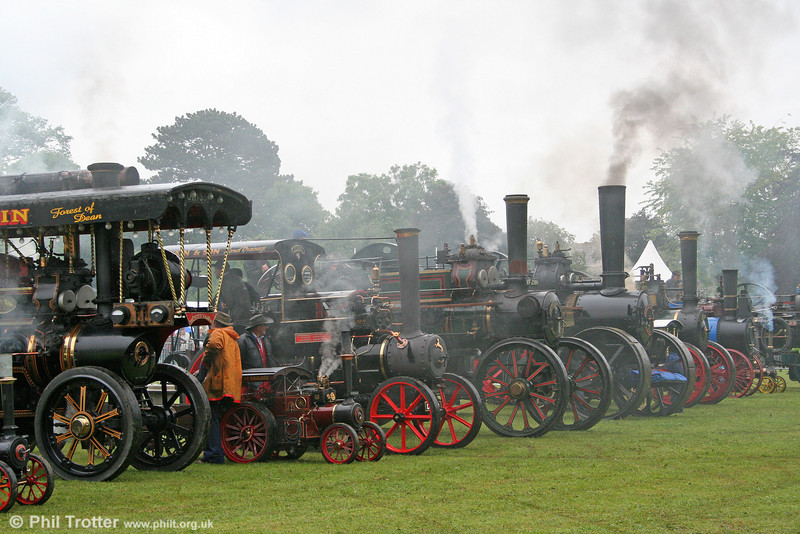 The impressive line up at the Abergavenny Steam, Veteran & Vintage Rally on 30th May 2011.