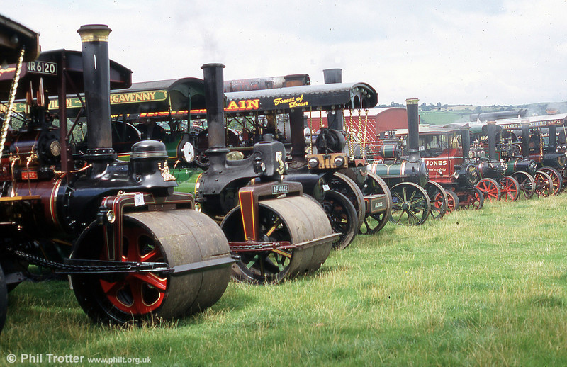 Just part of the line up of steam road locomotives at the Three Cocks Vintage Show, Hay on Wye, on 14th August 2005.
