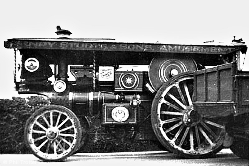Studt's Burrell Showman's Engine no. 3599 'Kitchener' photographed at Swansea in 1936.