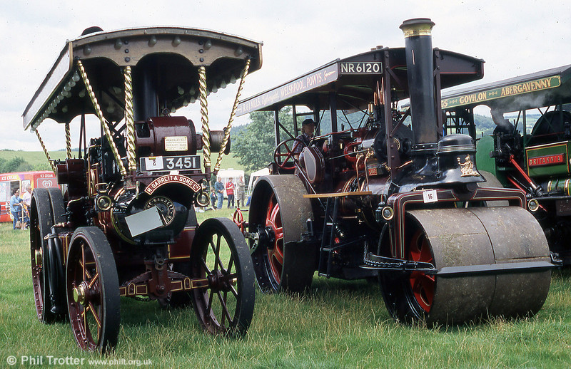 BJ 3451 'Lady Sarah', a Garrett Showman's Tractor no. 33074/1917 alongside NR 6120 'Jane' Marshall S Type Roller no.79087/1925 at Three Cocks Vintage Rally, Hay on Wye, 14th August 2005.