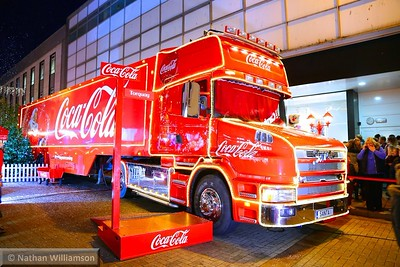 Coca-Cola truck on display in Torquay town centre  17/12/14