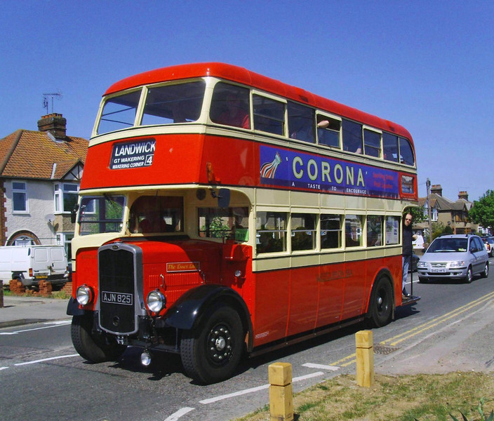 AJN 825.   1939 Bristol K5G with Eastern Coachworks Lowbridge body. Originally owned by Westcliffe On Sea Motor Services. Recorded on the Ipswich Transport Museum Ipswich to Felixstowe Road Run.  1st May 2011
