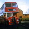 Eastern Counties driver Norman Long with Bristol Lodekka LFS 45 (45 CNG) at Kings Hedges Road, Cambridge on service 186 to Addenbrookes Hospital which was a new site at the time. This vehicle was built in 1963 and withdrawn from service in 1979. Photo with kind permission of Norman Long. Photographer was conductress Julia Siedler.  Image dated early seventies.