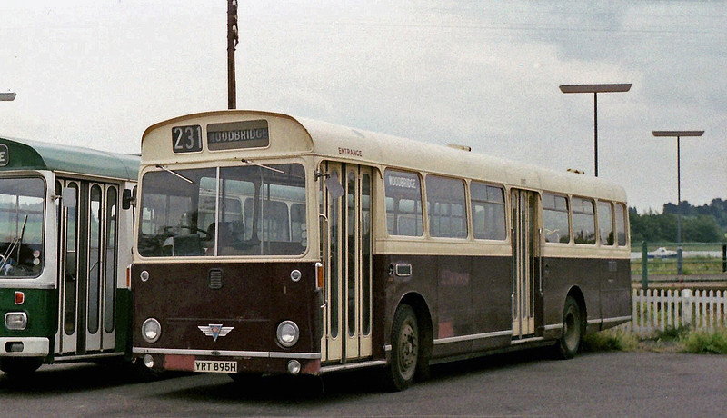 Ex Lowestoft Corporation AEC Swift YRT 895H recorded at Woodbridge Railway Station on 29th June 1979.