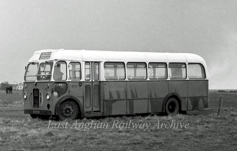 Ex Eastern Counties LC569  (6569 NG) recorded on Southwold Common.  23rd January 1976. It appears that it took a Howard Rotavators Sunday League football team to an away match.