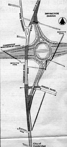 Junction 32 of the A14 at Histon which opened on 21st December 1978.  Source, Cambridge Evening News 10th December 1974.