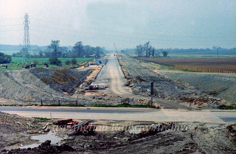 View west towards Girton. The road is now taking shape.  23rd April 1978