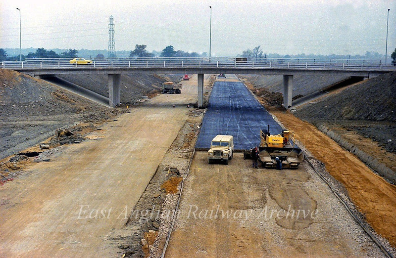 5th November 1978.  View looking west towards Girton from the Cambridge bound flyover. The last layers of tarmac are being laid and the road will be open in a few weeks.