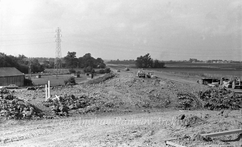 View west looking down the westbound slip road towards Girton. 11th September 1977