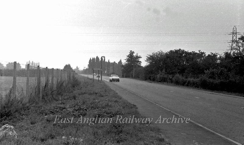 The old B1049 looking towards Cambridge. The Capri is located about where the old Arbury Road turn off was.  August 1975