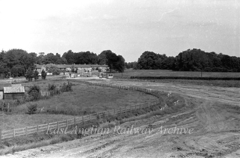 View looking back towards Bridge Road Histon from the Histon bound flyover.  11th September 1977