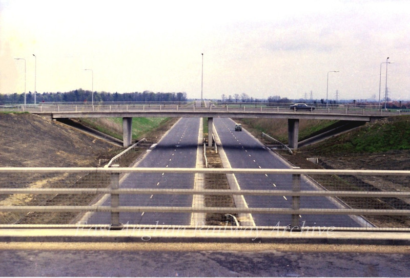 29th April 1979.  The view east towards Milton from the Histon bound flyover, showing a virtually empty road in the middle of the day, although it is a Sunday.