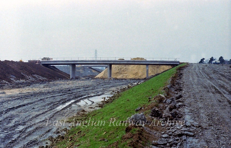 Looking west towards the two flyovers from the East bound slip road.  23rd April 1978.