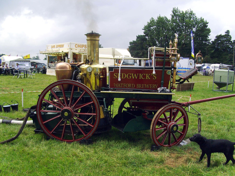 Sedgewicks Watford Brewery steam fire engine. Built by Shand, Mason & Co in 1876. It was in service until 1913. The dog looks interested.