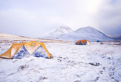 Tents with snow