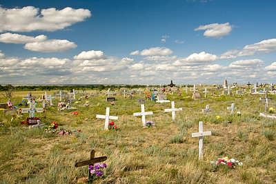 Cemetery on the flat prairies of Montana.