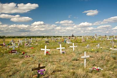 Cemetery on the flat prairies of Montana.
