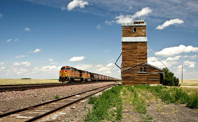 Abandoned grain elevator about 200 miles east of Glacier National Park, on the flat prairies of Montana.