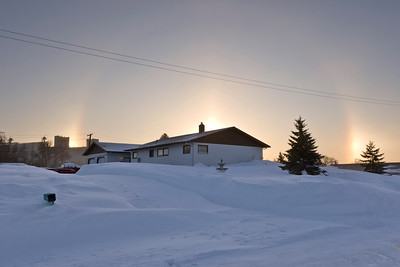 Early morning sundogs.  The following night the temperature dropped to minus 40 degrees.