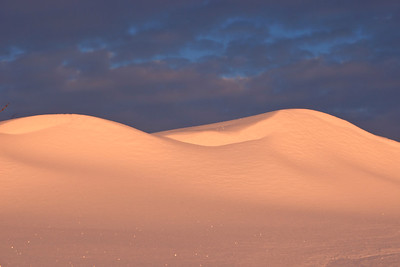 Late afternoon sunlight on a snow drift