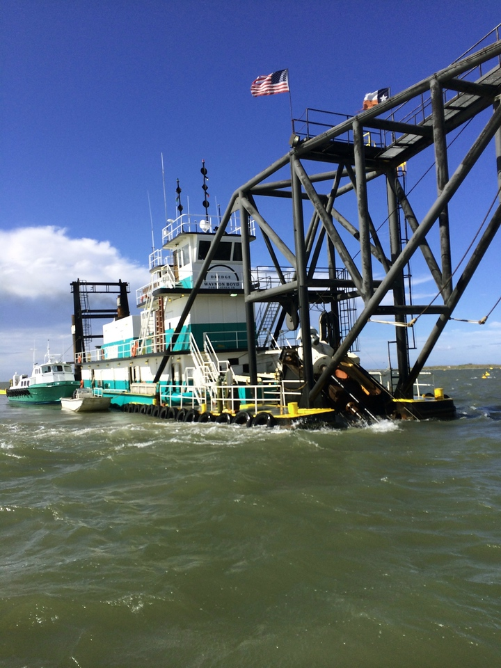 "A close-up of the ""Waymond Boyd"" Dredge vessel. <em> Photo credit: Tim Wilkinson</em>"