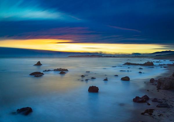 Sunset near San Simeon