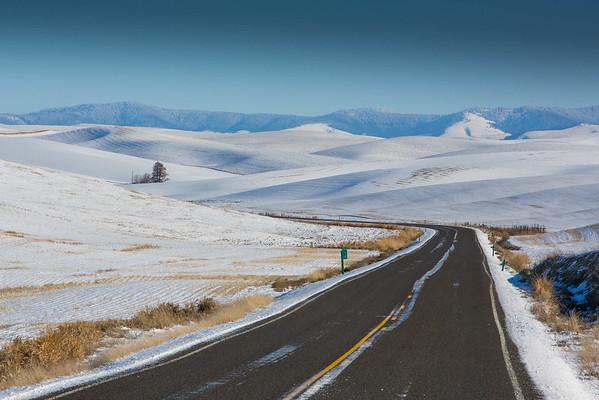 Icy Road near Colfax, WA