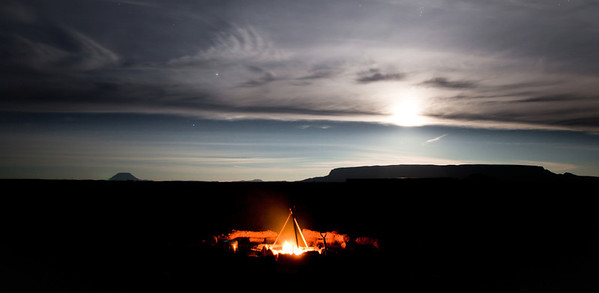 Base Camp in Texas while full Moon rising.