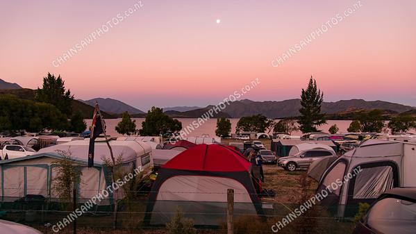 Glendhu camping ground at sunset