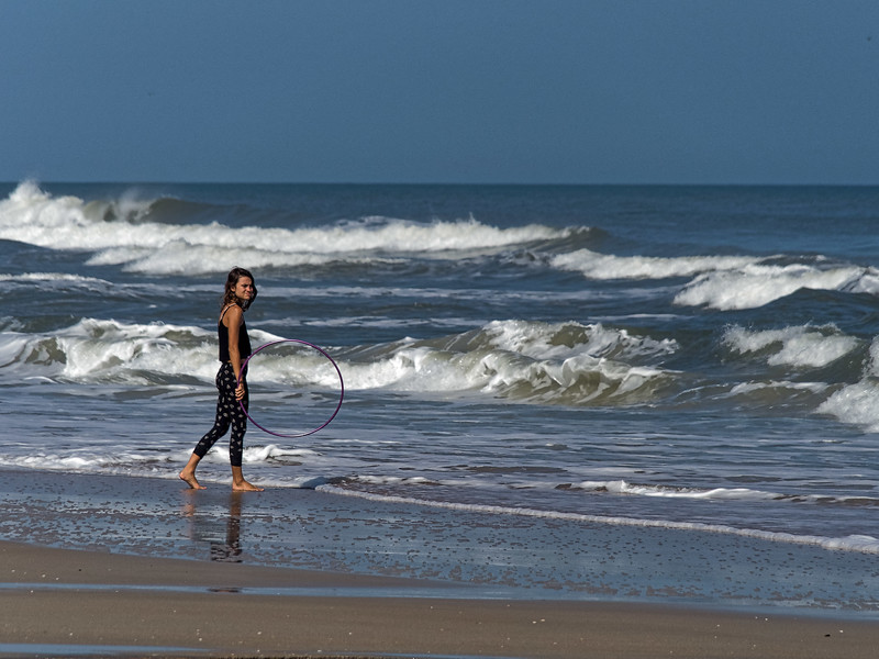 Hula Hooping in The Surf