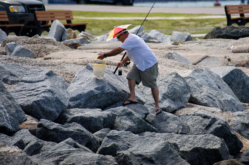 Fisherman with Umbrella Hat