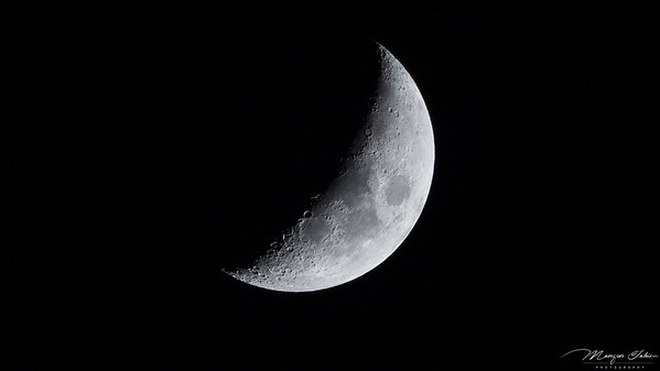 25th March, 2015 - The Moon - Waxing Crescent - 35% Illuminated.