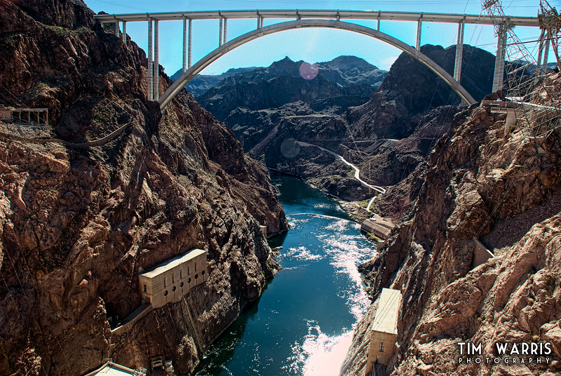 Boulder Canyon. Nevada on the right, Arizona on the left. Hoover dam behind the camera. That huge bridge, built in 2010, is almost 1000' feet from the canyon floor.