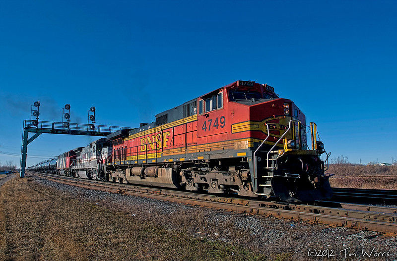 BNSF 4749 in Paris, Ontario on a cold, but snowless January day back in 2007.  Shot with a Nikon D1