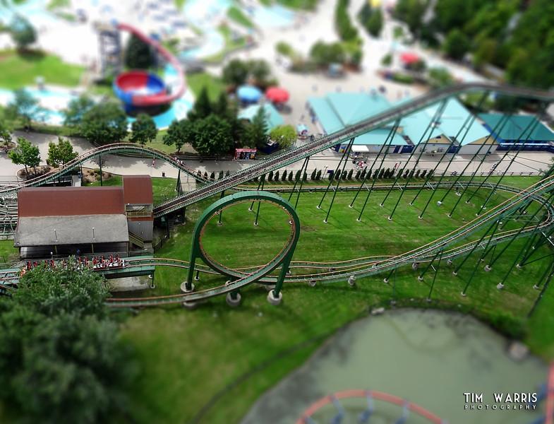 A Tilt-Shift version of a roller coaster at Canada's Wonderland.