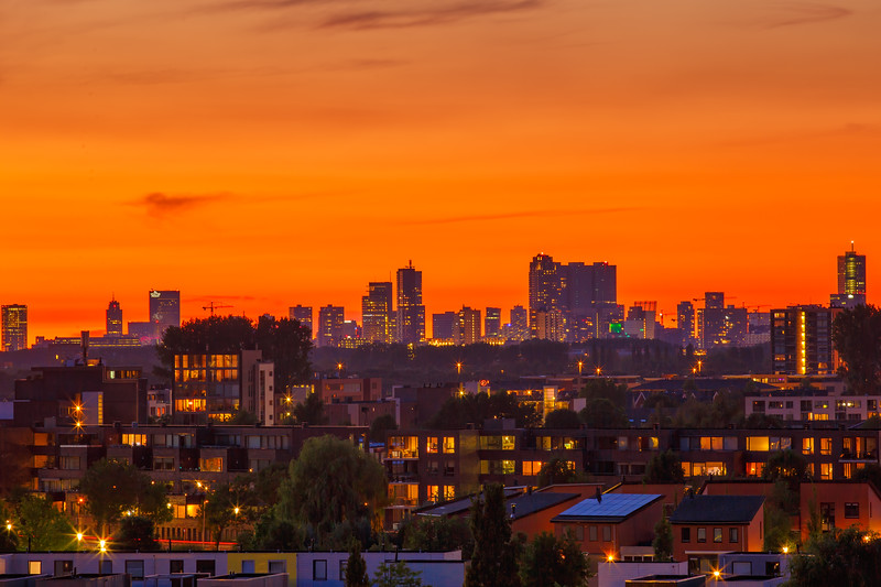 Sunset over Rotterdam skyline